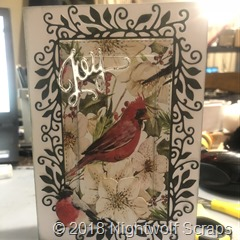 Handmade Christmas card - red bird with silver Joy